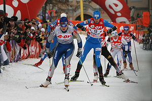 Virpi Sarasvuo - Virpi Kuitunen leading the group in the quarterfinals of Tour de Ski, Prague 2007