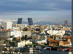 Chamartín (Madrid) - Gate of Europe towers and the Cuatro Torres Business Area under construction
