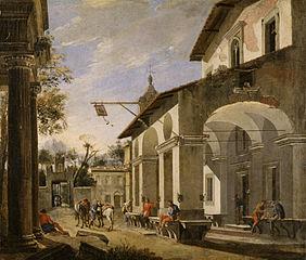 Courtyard of an Inn with Classical Ruins