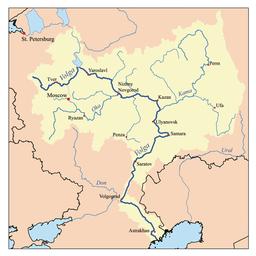 La akvokolekta areo de la rivero Volgo