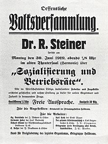 Présentation d'une conférence de Rudolf Steiner en 1919