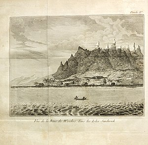 George Dixon (Royal Navy officer) - Illustration of Oahu, from the French translation of Dixon's book A Voyage Round the World
