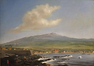 WLA haa Kailua Kona with Hualalai by James Gay Sawkins 1852.jpg