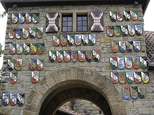 Weinheimer Senioren-Convent - Coats of arms of member Corps at the entrance to the Wachenburg castle