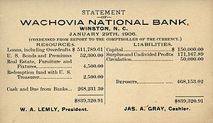 Document - Image: Wachovia National Bank 1906 statement