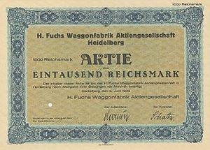 Waggonfabrik Fuchs - A Waggonfabrik Fuchs share certificate