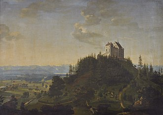Waldburg Castle - Historical view from north-east, painting by Johann Georg Sauter, 1845.