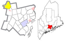 Location of Burnham (in yellow) in Waldo County and the state of Maine