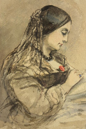 Caroline Norton - Watercolour sketch of Caroline Norton by Emma Fergusson 1860, National Portrait Gallery of Scotland