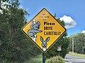 We Live Here Too Please Drive Carefully warning road sign, Australia.jpg