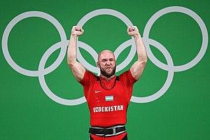 Ruslan Nurudinov - Image: Weightlifting at the 2016 Summer Olympics – Men's 105 kg 13
