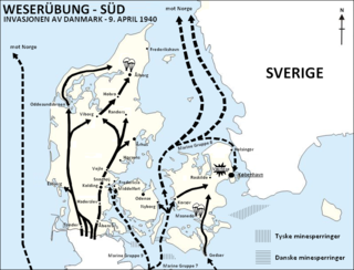 German invasion of Denmark (1940) fighting that followed the German army crossing the Danish border on 9 April 1940