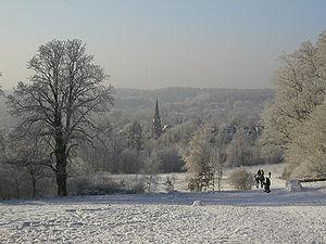 Oborniki Śląskie - View of the town in winter