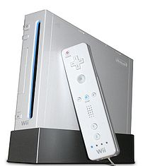 Wii with Wiimote (white background).