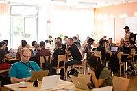 Wikimedia Hackathon Vienna 2017-05-19 Hacking Heuriger 004.jpg