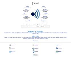 Detail of the Wikiquote multilingual portal main page.