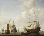 Willem van de Velde the Younger - A Dutch Flagship Coming to Anchor with a States Yacht Before a Light Air.jpg