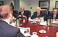 William Cohen meets with Eduard Shevardnadze, Irakli Menagarishvili and Charkviani (July 17, 1997).jpg