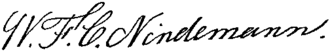 William F. C. Nindemann - Image: William F. C. Nindemann signature