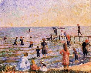 Bellport, New York - Bathing at Bellport by William Glackens