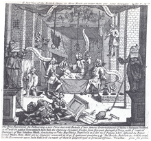 A Print By William Hogarth Entitled Just View Of The British Stage From 1724 Depicting Robert Wilks Colley Cibber And Barton Booth Rehearsing
