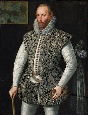 William Segar - Sir Walter Raleigh, portrait by William Segar, 1598