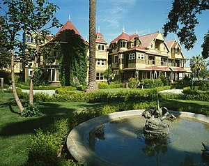Haunted house - The Winchester Mystery House is reported to be haunted.