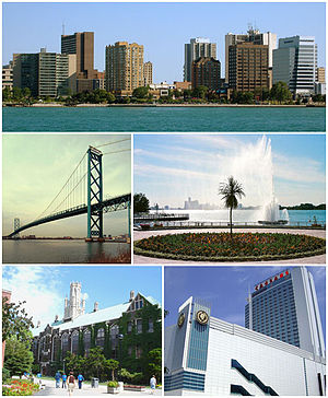 Images from top to bottom, left to right: Downtown Windsor skyline, Ambassador Bridge, Charlie Brooks Memorial Peace Fountain, Dillon Hall at University of Windsor, and Caesars Windsor.
