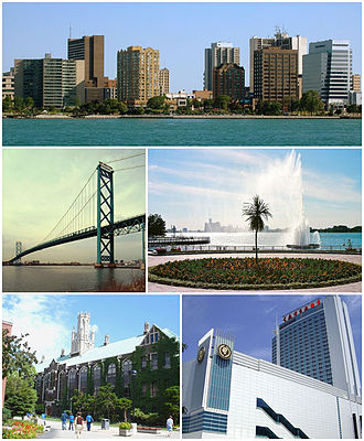 Windsor, Ontario - Images from top to bottom, left to right: Downtown Windsor skyline, Ambassador Bridge, Charlie Brooks Memorial Peace Fountain, Dillon Hall at University of Windsor, and Caesars Windsor