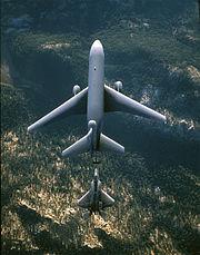 Aircraft wing planform shapes: a KC-10 Extender (top) refuels an F-22 Raptor