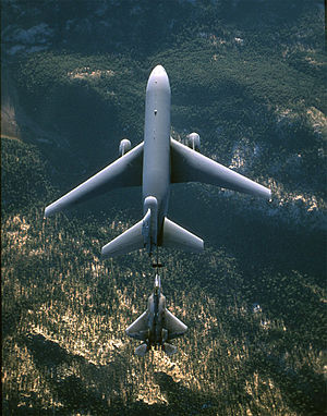6th Air Refueling Squadron - A KC-10 Extender from Travis AFB refuels an F-22 Raptor