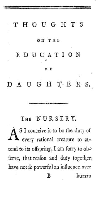 Thoughts on the Education of Daughters - First page of the first edition of Thoughts (1787)