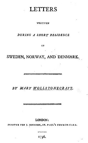 Letters Written in Sweden, Norway, and Denmark - Title page from the first edition of Letters (1796)
