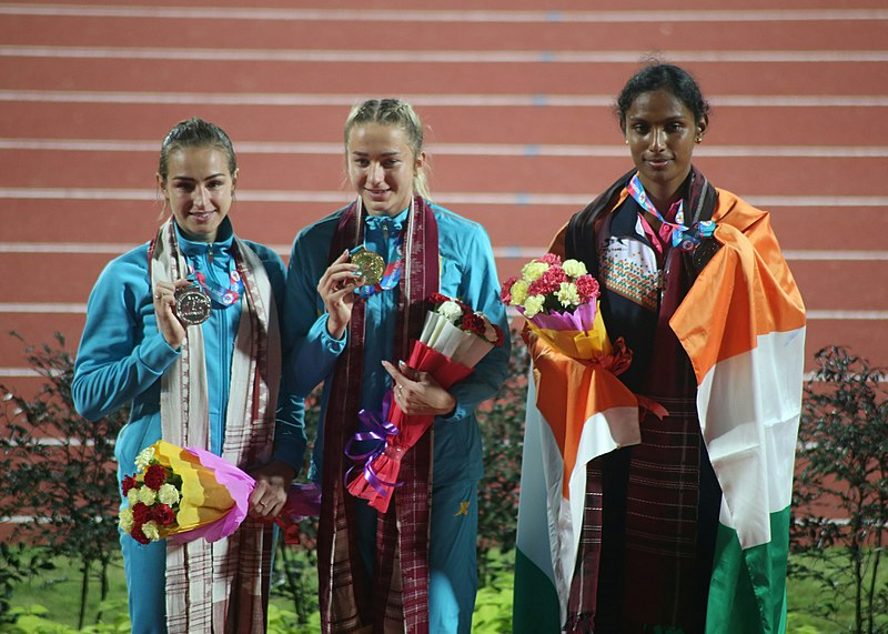 File:Women Triple Jump Mariya Ovchinnikova Won Gold For Kazakhstan Irina Ektova Silver For Kazakhstan And Sheena N V Won Bronze For India.jpg