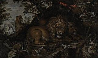 Bebost landschap met leeuwen