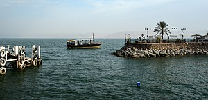 Sea of Galilee - Wooden longboat in the Sea of Galilee, Tiberias.