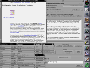 WorldWideWeb showing many of its functions