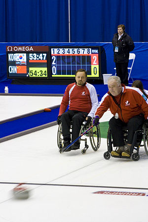 Jim Armstrong (curler) - Chris Sobkowicz and Jim Armstrong at the 2009 World Wheelchair Curling Championship.