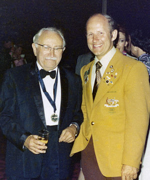Australia at the 1976 Summer Paralympics - Paralympic movement founder Ludwig Guttmann with Australian Team leader Richard Jones at a function at the 1976 Paralympic Games
