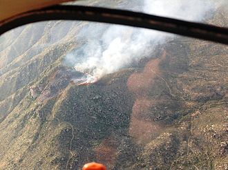 Yarnell Hill Fire - Aerial view of the fire from the south.