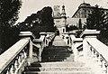 Ybl Miklós óriáslépcsője a déli cortinafalon, végében a neoreneszánsz lépcsőházi épület. Fortepan 77621.jpg