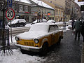 Yellow Trabant 1.1 on Karmelicka street in Kraków.jpg