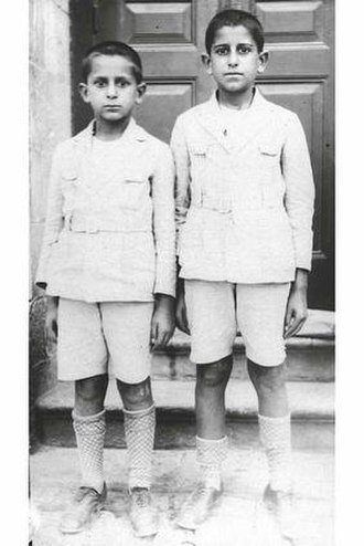 Yitzhak Navon - Yitzhak Navon (left) and his brother Victor in Jerusalem, 1929