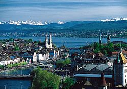Zurich's port and city