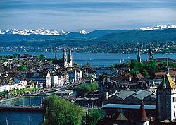 View over Zürich and the lake