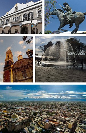 Zacatelco - From top to bottom left to right: City hall, Domingo Arenas monument, St. Agnes Parish, Main square, Overview of Zacatelco.