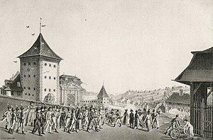 Stecklikrieg - The death of Lieutenant Rudolf von Werdt on 18 September 1802, an episode of the Stecklikrieg. Pen and ink drawing by Karl Ludwig Zehender (1751-1814).