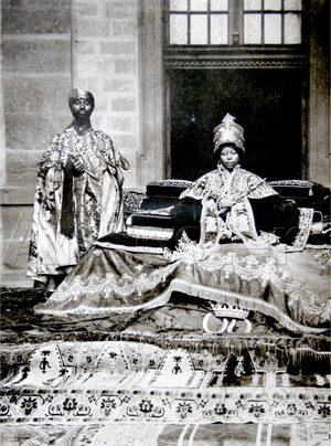 Crown jewels - Empress Zewditu I accompanied by a priest