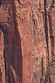 Zion Nat'l Park - spectacular views from Angel's Landing - note the two person climbing team on the red pillar - (19924416279).jpg
