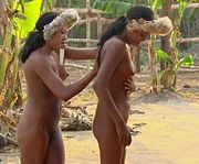 Two women of the Zo'é tribe of Pará State, Brazil